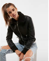 Express faux fur (Minus the) leather aviator jacket