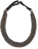 Brunello Cucinelli Multi-Strand Monili Choker Necklace, Silver
