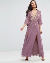 Asos Embellished Kimono Sleeve Maxi Dress