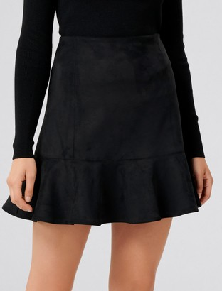 Forever New Kiara Fit and Flare Suedette Mini Skirt - Black - 14