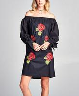 Simply Boho LA Women's Casual Dresses BLACK - Black Rose-Embroidered Bishop-Sleeve Off-Shoulder Dress - Women