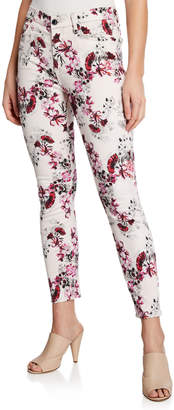 7 For All Mankind Jen7 by Floral-Print Mid-Rise Skinny Ankle Jeans