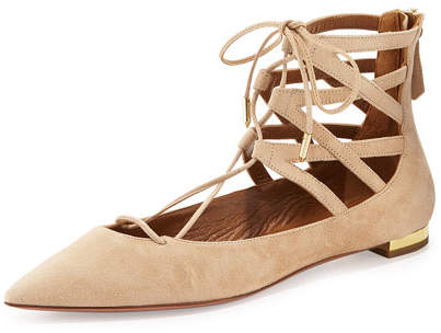 Aquazzura Belgravia Suede Lace-Up Flat