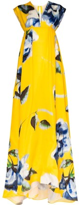 Carolina Herrera Floral Print Maxi Gown