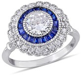 Allura 1.19 CT. T.W. Blue Spinel and 1.7 CT. T.W. Cubic Zirconia Vintage Halo Ring in Sterling Silver