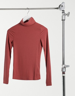 New Look ribbed roll neck top in rust