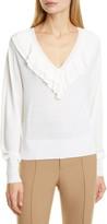 Chloé Ruffle V-Neck Merino Wool Sweater