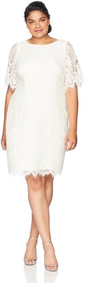 Adrianna Papell Women's Size Plus Bell Sleeve Georgia LACE Sheath Dress