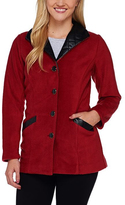 Bob Mackie Red Faux Leather-Trim Jacket - Plus Too