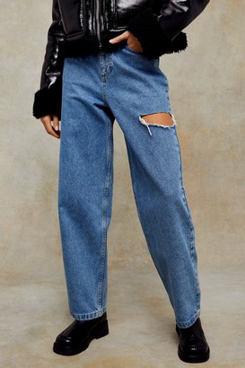Topshop Womens Mid Blue Relaxed Side Ripped Jeans - Mid Stone