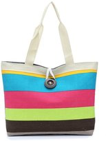Donalworld Woen Strip Shopping Bag Travelessenger Tote Canvas Shoulder Bag