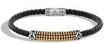 John Hardy Men's Chain Jawan 4MM Station Bracelet, Sterling Silver, 18K Gold, Leather