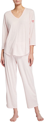 Skin Organic Cotton Pajama Set with Embroidered Heart