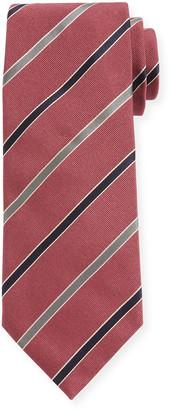 Canali Contemporary Rep Striped Silk Tie, Pink