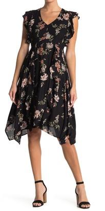 Angie Flutter Trim Floral Print Dress