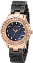 Akribos XXIV Women's AK781BKR Crystal Baguette Quartz Movement Watch with Black Mother of Pearl Dial and Ceramic Bracelet