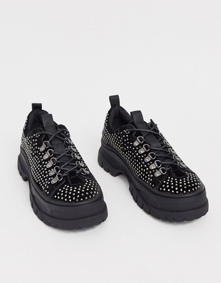 Asos DESIGN lace up shoes in gray velvet with all over gem detail and chunky sole
