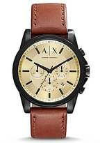 Armani Exchange Outerbanks Chronograph Leather-Strap Watch