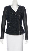 Maje Leather-Accented Zip-Up Jacket