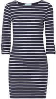 Melissa Odabash Maddie Striped Ribbed Stretch-jersey Mini Dress - Midnight blue