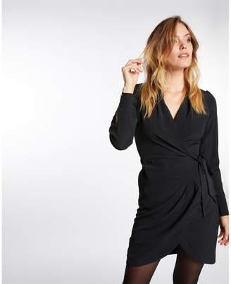 Morgan Short Wrapover Dress with Long-Sleeves