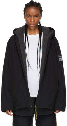 Aries Reversible Black Plain Fleece Parka Jacket