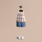 Burberry Button Detail Cotton Chambray Shorts
