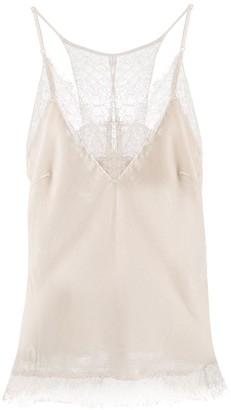 Gold Hawk Lace Trim Velvet Camisole