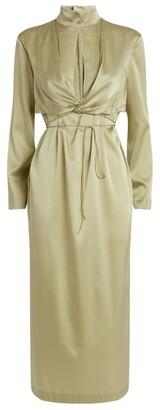 MATÉRIEL Silk Keyhole Midi Dress