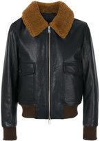 Ami Alexandre Mattiussi zipped shearling collar jacket - men - Cotton/Calf Leather/Sheep Skin/Shearling/Wool - XS