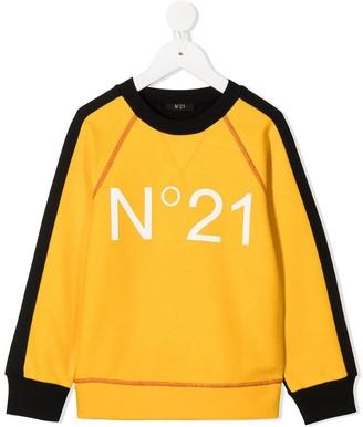 No21 Kids Color-Block Logo Sweatshirt