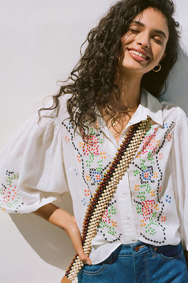 Anthropologie Perry Embroidered Buttondown By in White Size XS