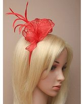 Inca Red Fascinator on Headband/ Clip-in for Weddings, Races and Occasions-5920