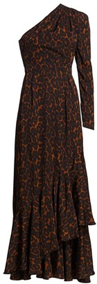 Erdem Doriana One Shoulder Leopard Print Gown