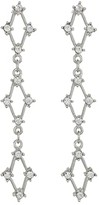 Kenneth Jay Lane Silver with Crystals Three Diamonds Post Earrings (Silver/Crystal) Earring