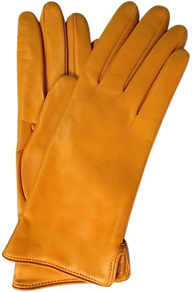 Forzieri Mustard Yellow Leather Women's Gloves w/Cashmere Lining