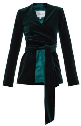 Galvan Winter Velvet Wrap Jacket - Dark Green