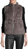 Neiman Marcus Faux-Fur Zip-Front Vest