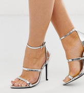 London Rebel wide fit pointed strappy stiletto heeled sandals in silver