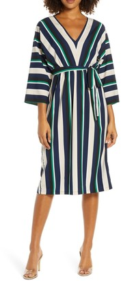 French Connection Striped 3/4 Sleeve Shift Dress