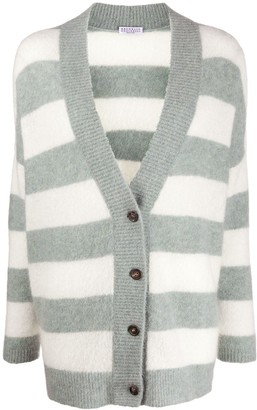 Brunello Cucinelli Striped Loose-Fit Cardi-Coat