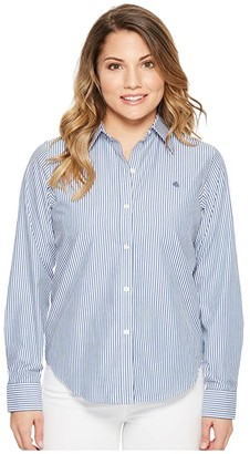 Lauren Ralph Lauren Petite Striped Cotton Shirt (Blue/White) Women's Clothing