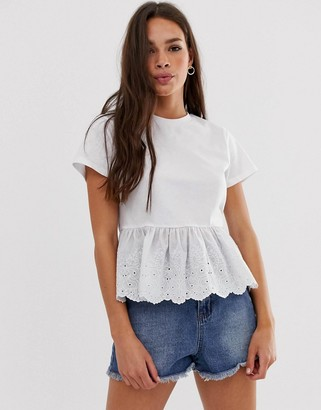 Asos Design DESIGN smock top with broidery hem