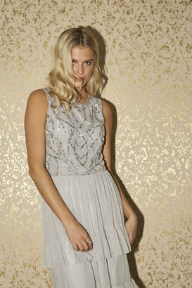 Little Mistress Ophelia Grey Embellished Top Co-ord