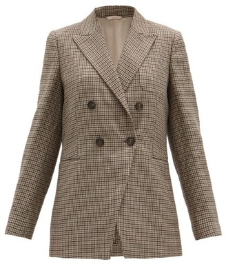 Brunello Cucinelli Cutaway-quarter Checked Linen-blend Blazer - Beige Multi