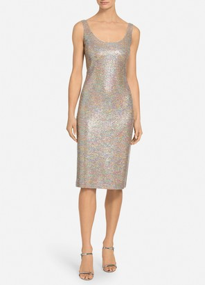 St. John Dense Sparkle Knit Scoop Neck Dress