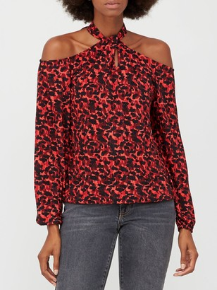 Very Cold Shoulder Halter Long Sleeve Top - Red Animal