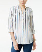 Charter Club Petite Striped Roll-Tab Shirt, Created for Macy's