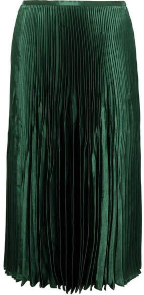 Vince Pleated Satin Midi Skirt - Green