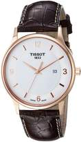 Tissot Men's 'T Gold' Swiss Quartz and Leather Automatic Watch, Color:Brown (Model: T9144104601700)